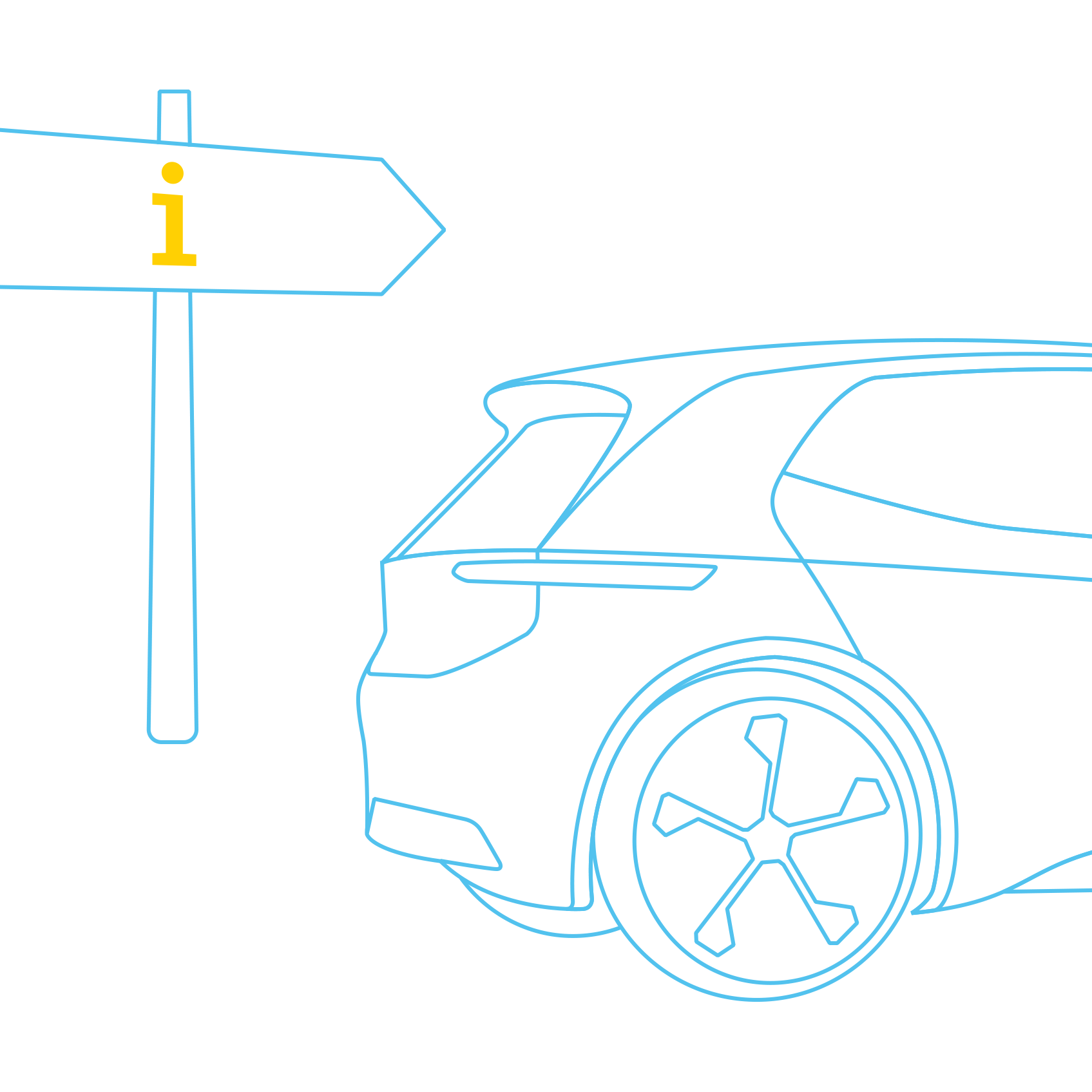 Electric vehicle with a guidepost
